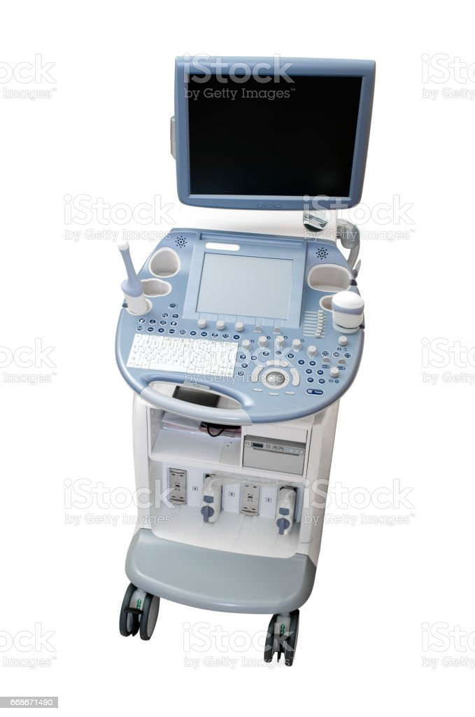 Ultrasound machine diagnostic equipment isolated on white stock photo