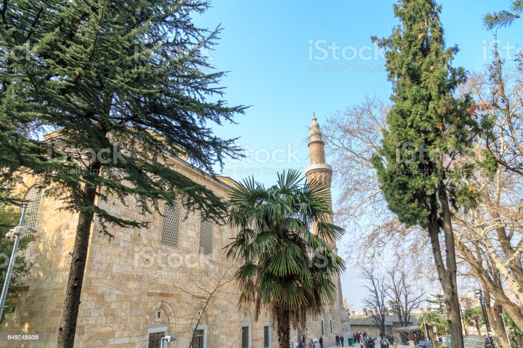 Ulucami mosque with trees in Bursa, Turkey stock photo