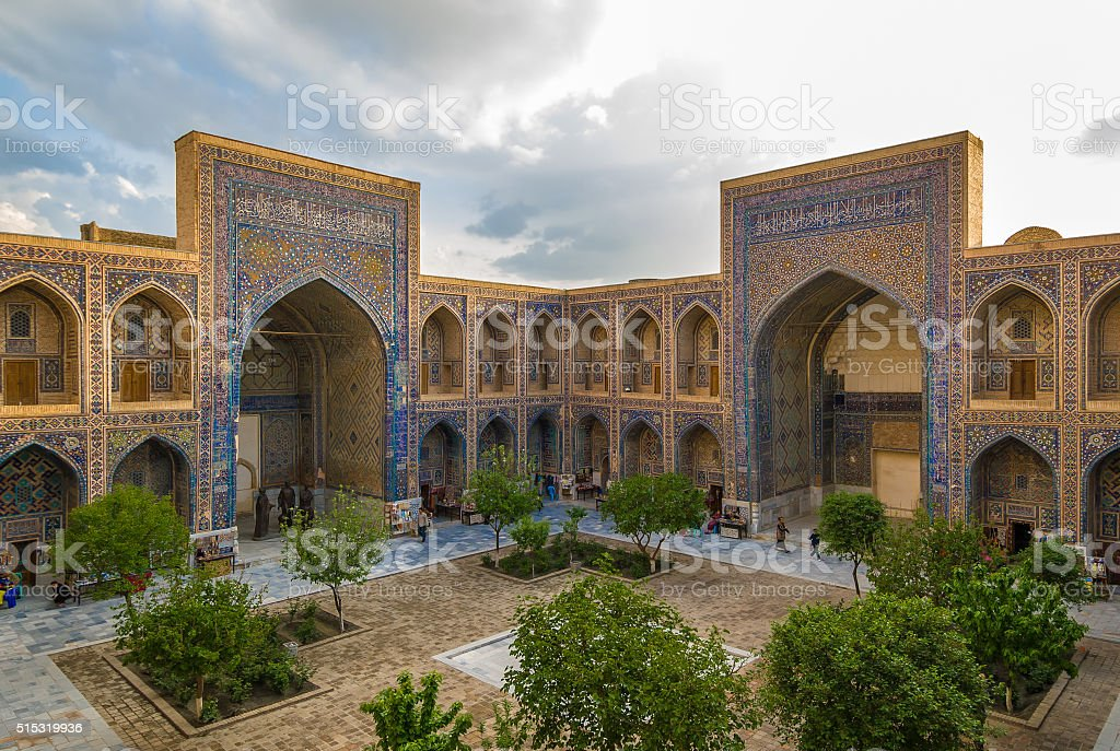 Ulugh Beg Madrasah, Registan, Samarkand, Uzbekistan stock photo