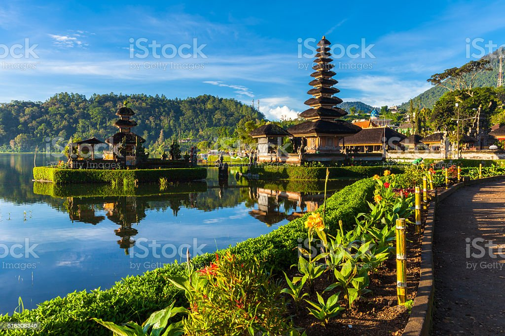 Pura Ulun Danu Bratan at sunrise, Bali, Indonesia stock photo