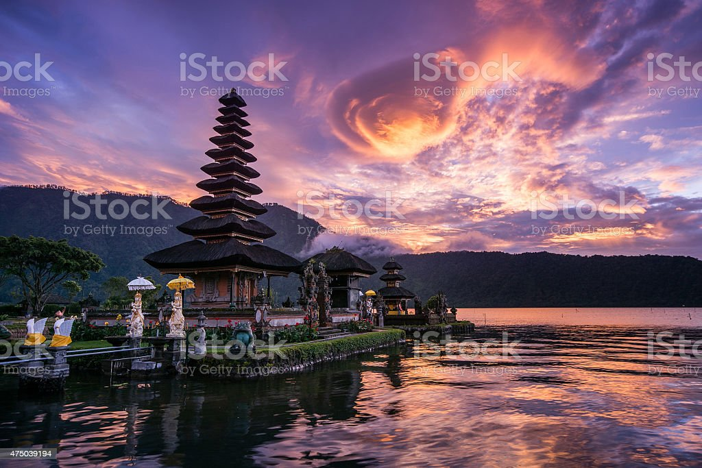 Pura Ulun Danu Bratan at Bali, Indonesia stock photo