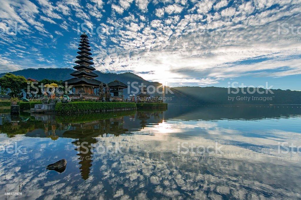 Ulun Danu Temple at Beratan Lake Bedugul Bali stock photo
