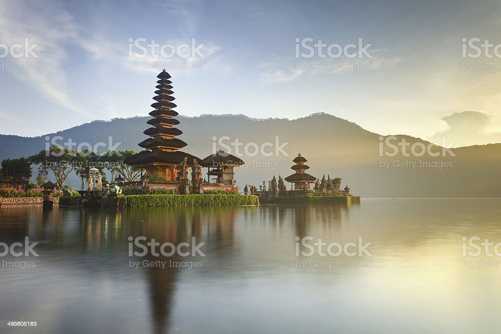 Ulun Danu temple at sunrise, Bali stock photo