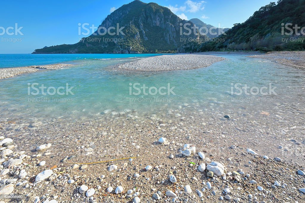 Ulupinar river mouth-southern end of the beach. Çirali-Lycian coast-Turkey. 0343 stock photo