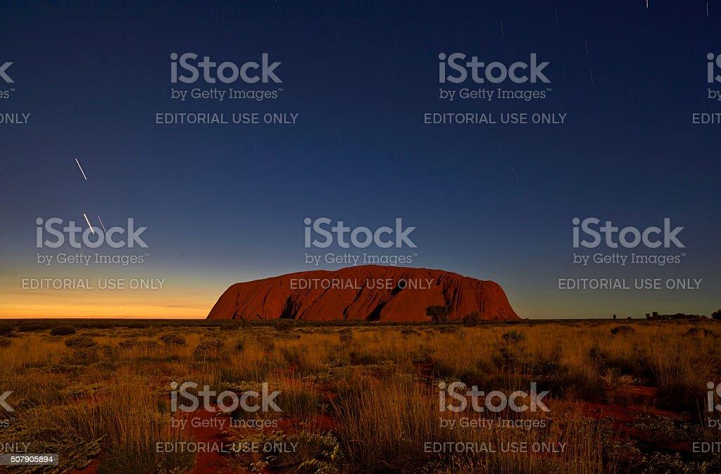 Uluru In The Moonlight stock photo