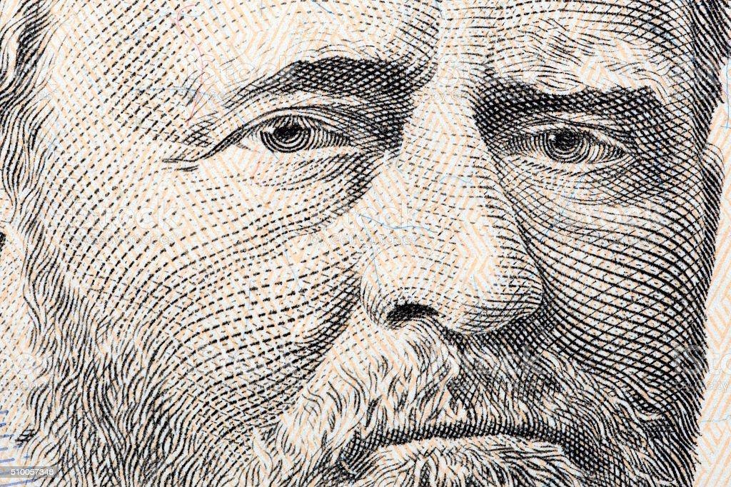 Ulysses Grant a close-up portrait stock photo