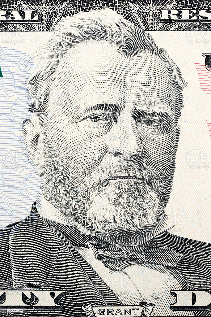 Ulysses Grant on fifty dollars stock photo