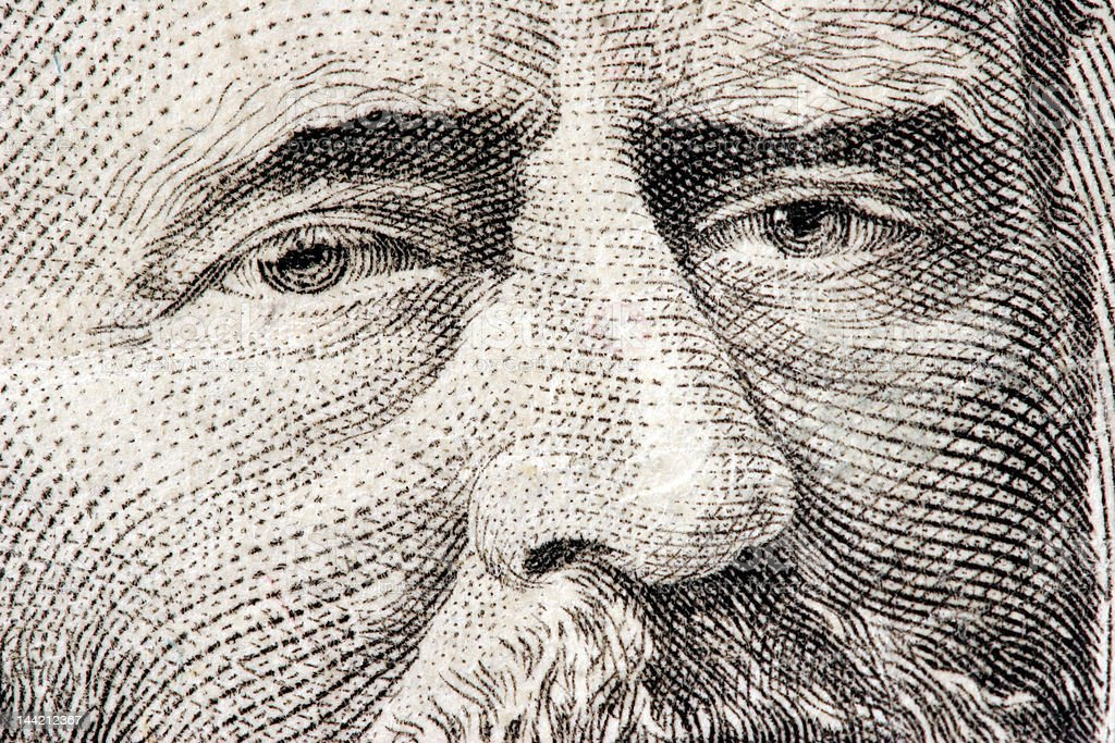 Ulysses S. Grant close up from 50 dollar bill royalty-free stock photo