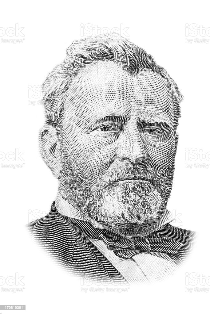 Ulysses S. Grant portrait on fifty dollars bill. royalty-free stock photo