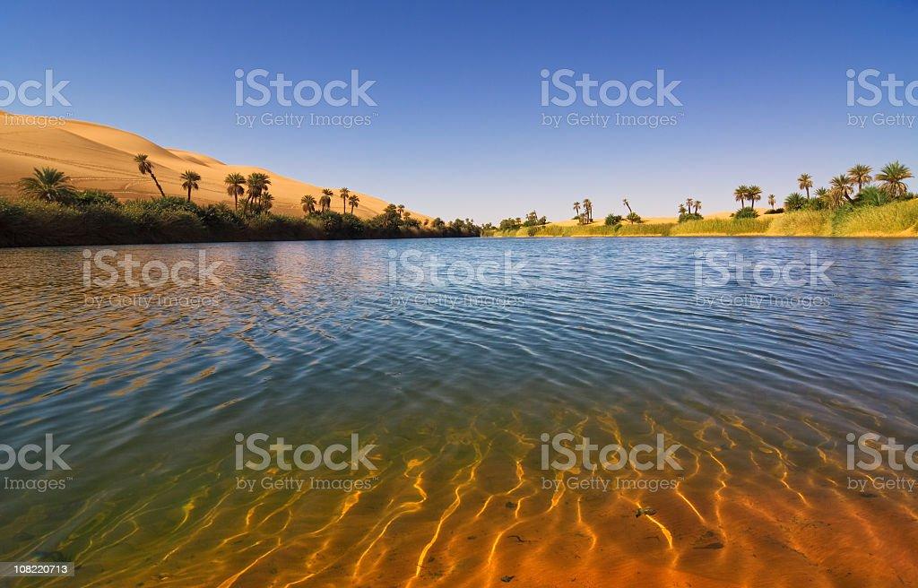 Um el Ma Oasis , Mandara lake , Libyan Sahara Desert, Libya royalty-free stock photo