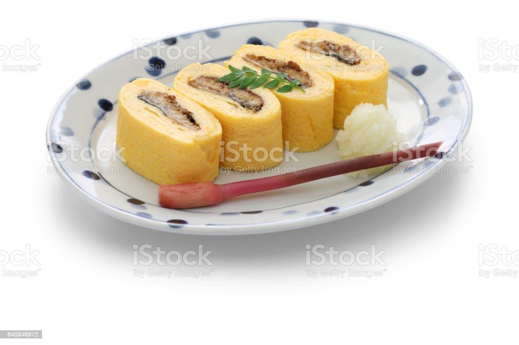 umaki, japanese eel rolled omelet, japanese cuisine stock photo