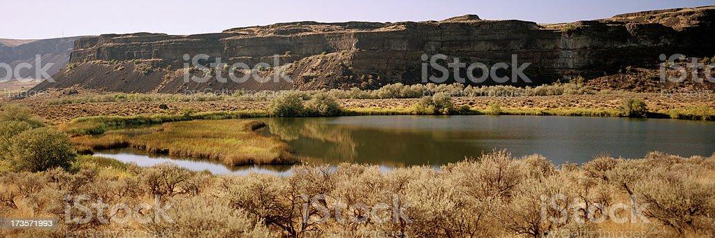 Umatilla Rock, Dry Falls, Grand Coulee, Washington, United States stock photo