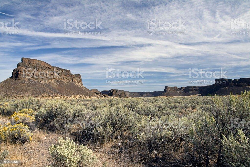 Umatilla Rock, Sun Lakes Dry Falls State Park, Washington State stock photo