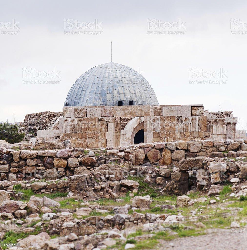 Umayyad palace in antique citadel of Amman stock photo