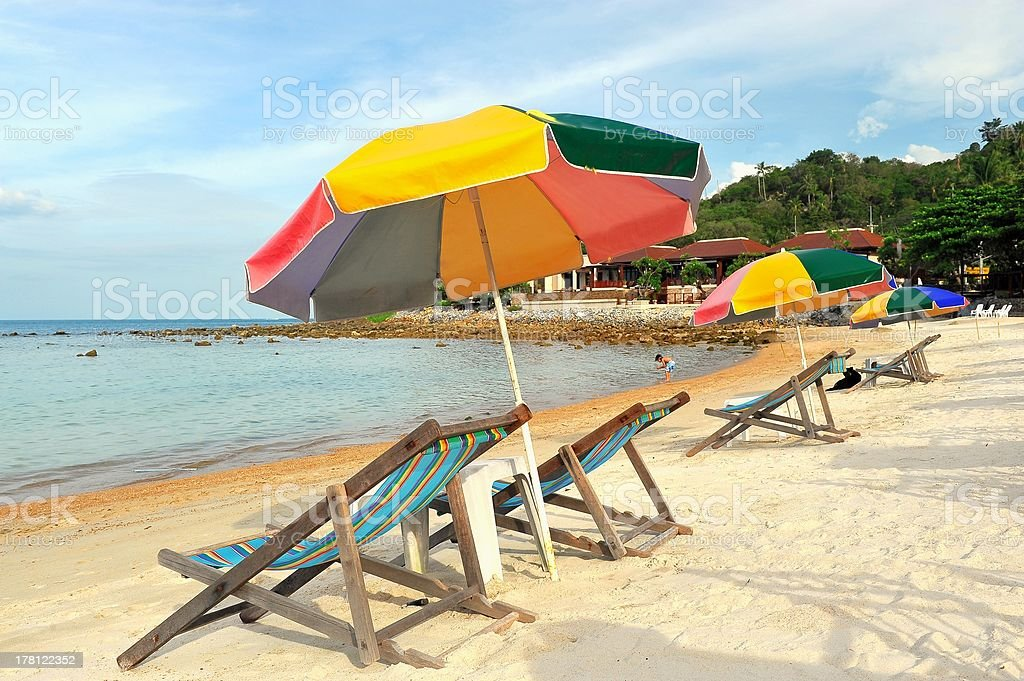 umbrella and chairs on the beach, Phuket, Thailand stock photo