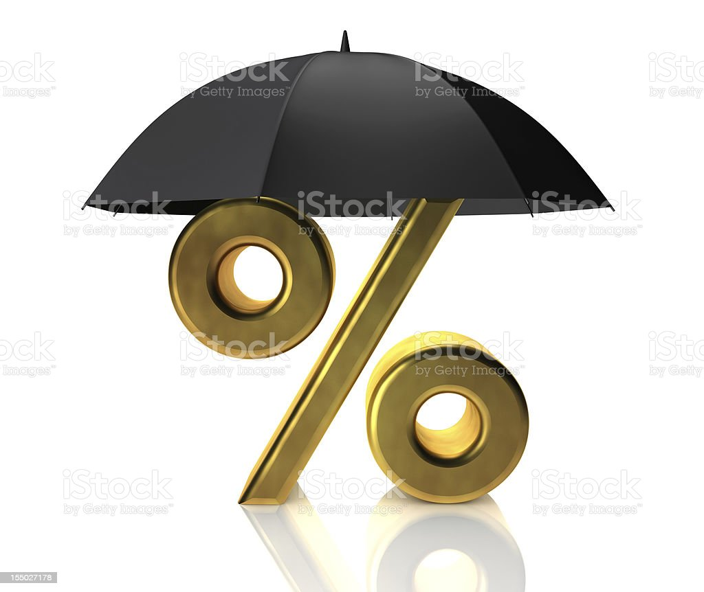 Umbrella and percentage royalty-free stock photo