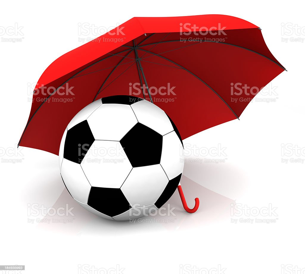 Umbrella and Soccer Ball stock photo