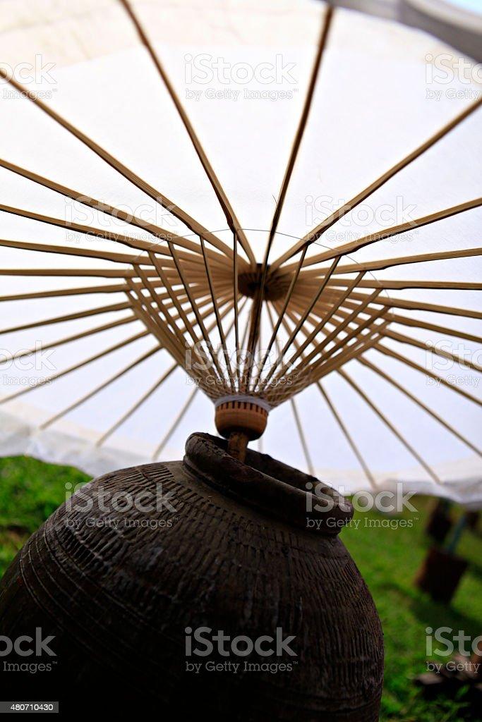 Umbrella festival at San Kamphaeng Chiang Mai, Thailand. stock photo