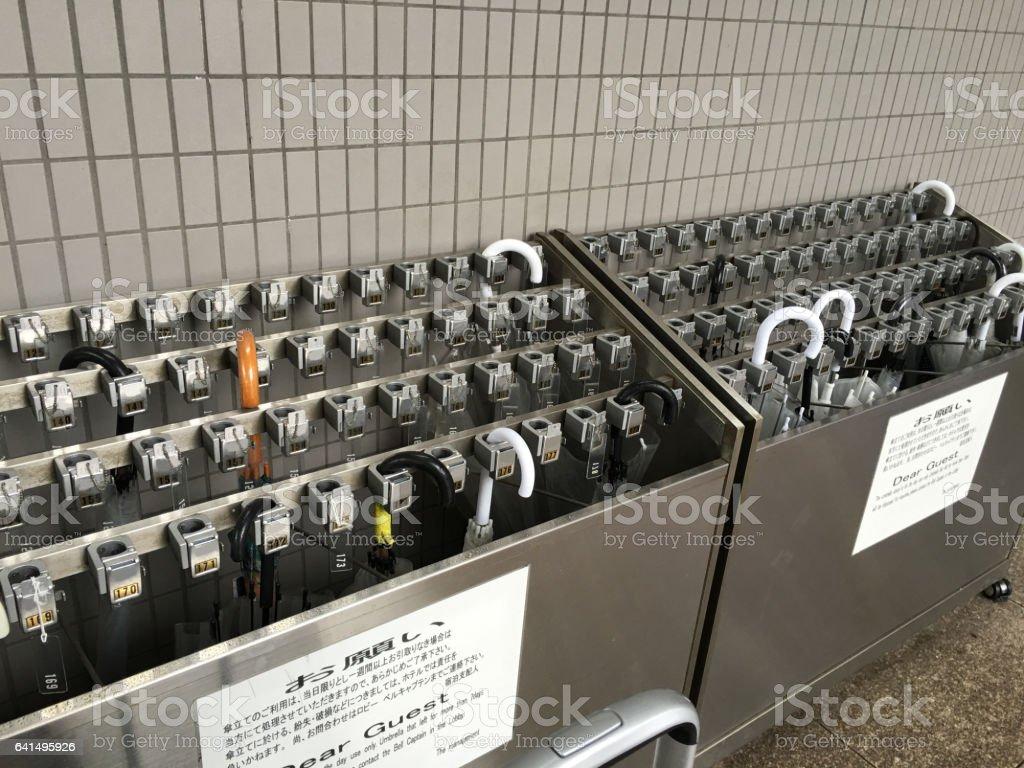 Umbrella holder with lock stock photo