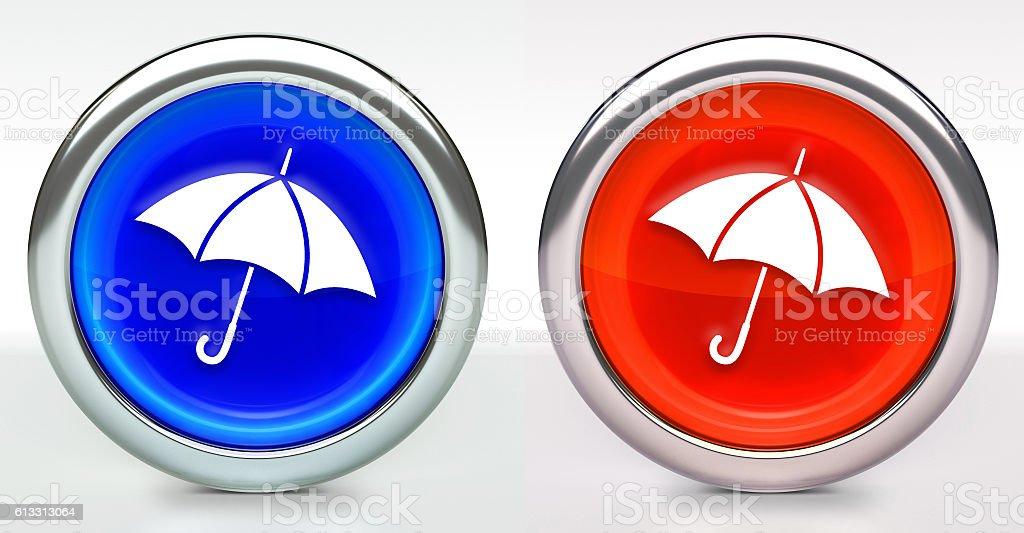 Umbrella Icon on Button with Metallic Rim stock photo