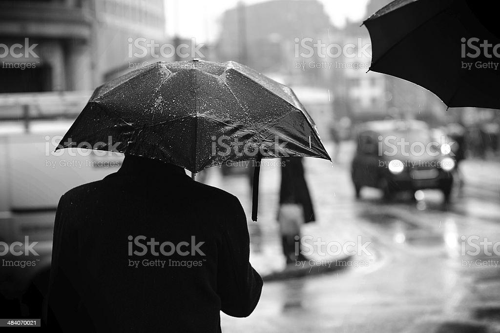 Umbrella In Rainy London stock photo