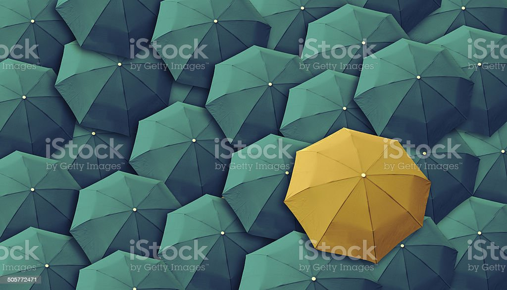 Umbrella, leader, unique, boss, individuality, original, special. stock photo