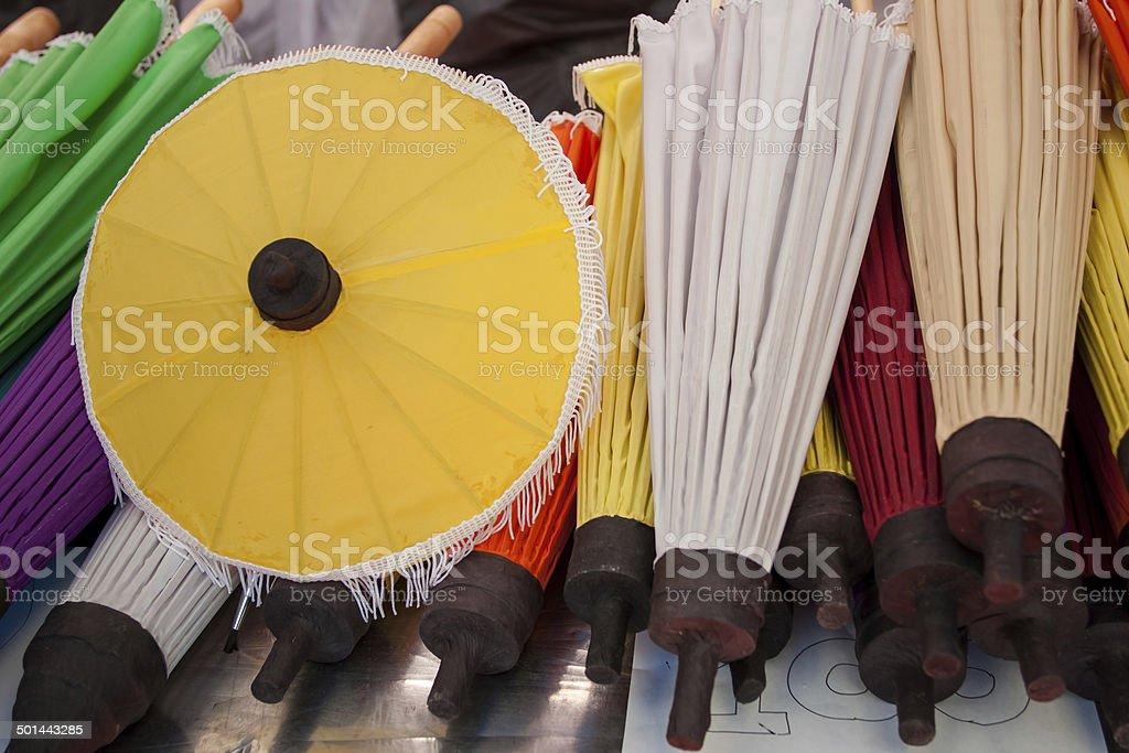 umbrella made of paper / cloth Arts and crafts stock photo