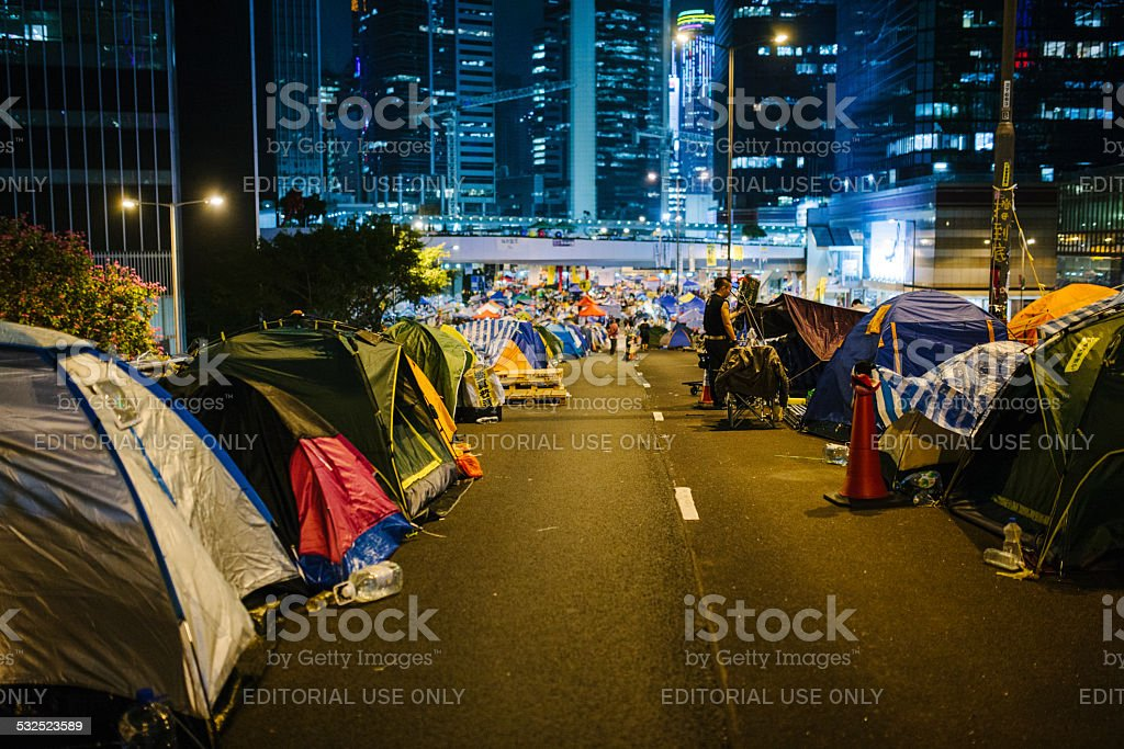 Umbrella Movement at night, Hong Kong stock photo