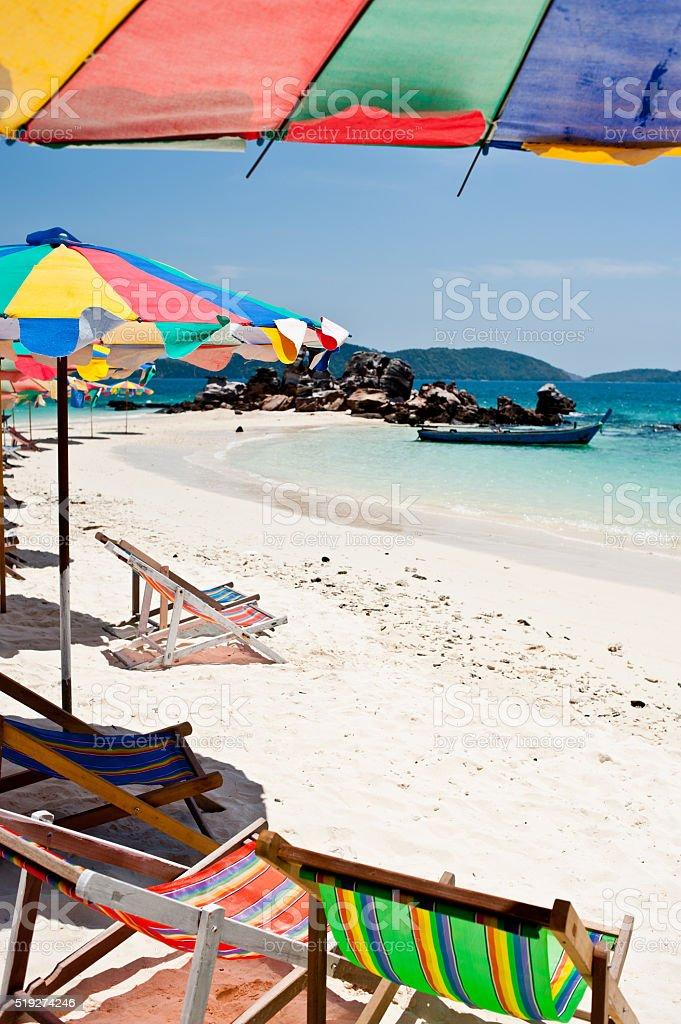 Kolorowe parasole na plaży, Phuket zbiór zdjęć royalty-free
