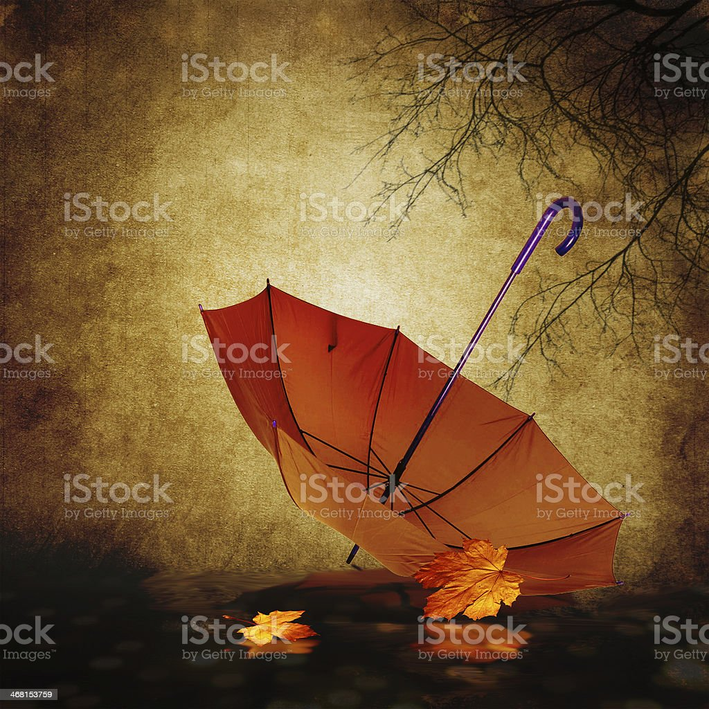 Umbrella on the autumn background. royalty-free stock photo