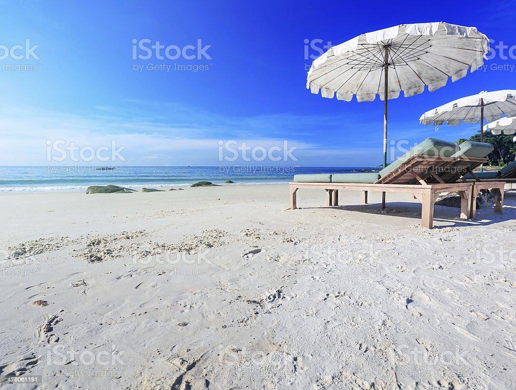 Sonnenschirm am Strand. Lizenzfreies stock-foto