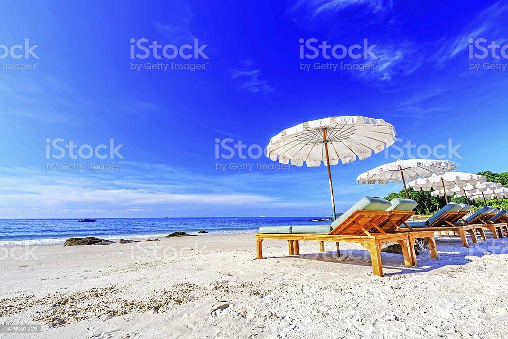 Umbrella on the beach. stock photo