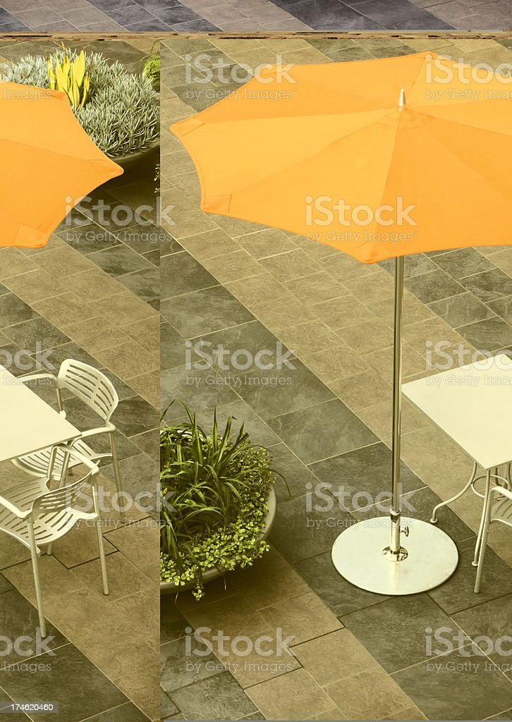 Umbrella Outdoor Cafe Table Chairs royalty-free stock photo