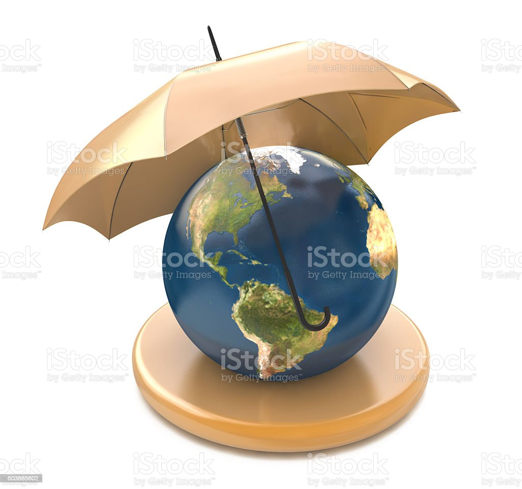 Umbrella over a globe illustration design over a white backgroun stock photo