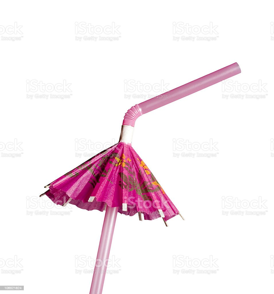 Umbrella straw party time drink stock photo