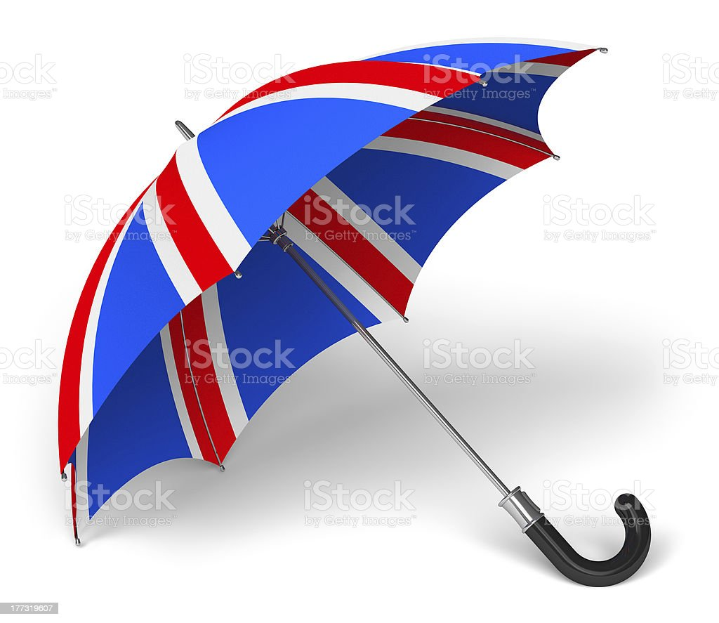 Umbrella with British flag stock photo