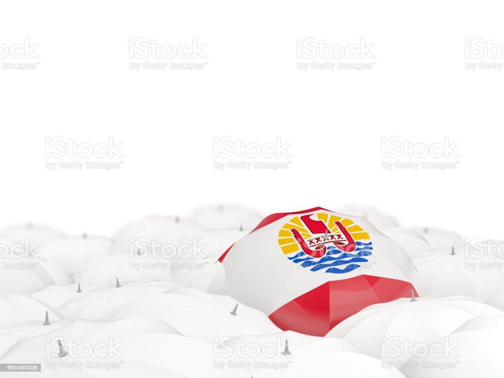 Umbrella with flag of french polynesia stock photo