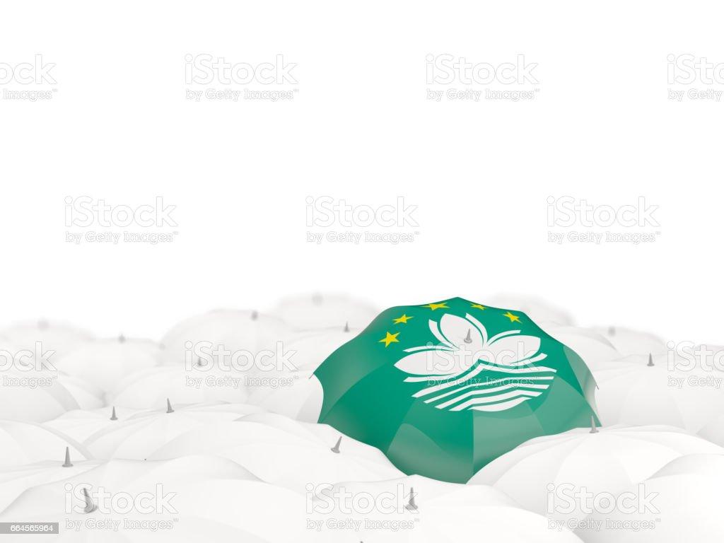 Umbrella with flag of macao stock photo