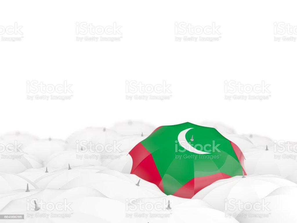 Umbrella with flag of maldives stock photo