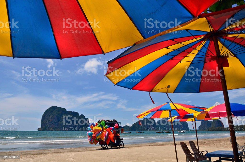 Umbrellas and Beach Vendors stock photo