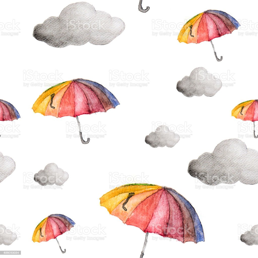 umbrellas and clouds seamless pattern. stock photo