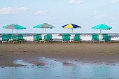 umbrellas and sun beds on the beach