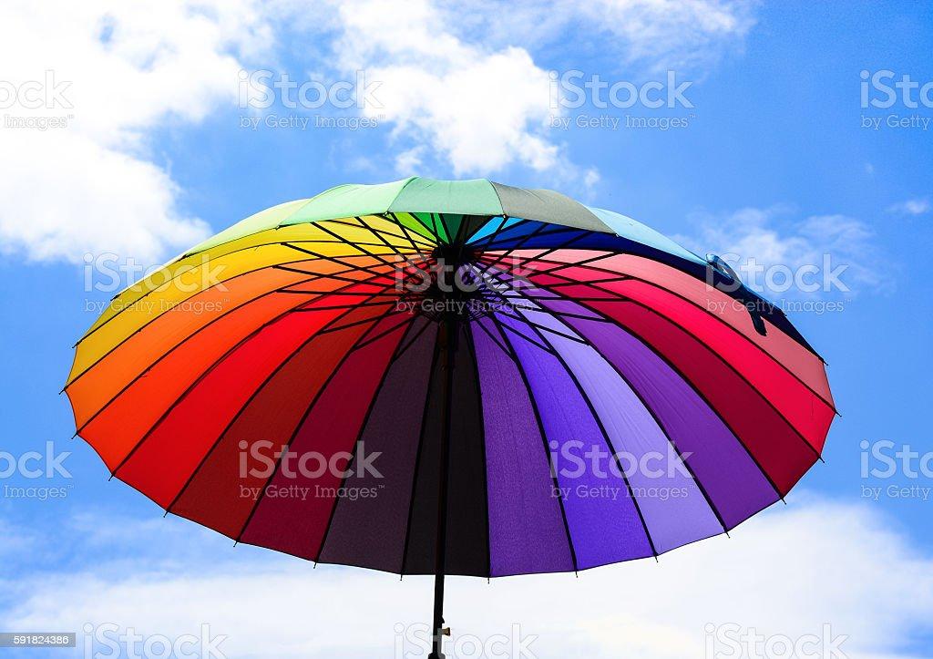 Umbrellas coloring in sky stock photo