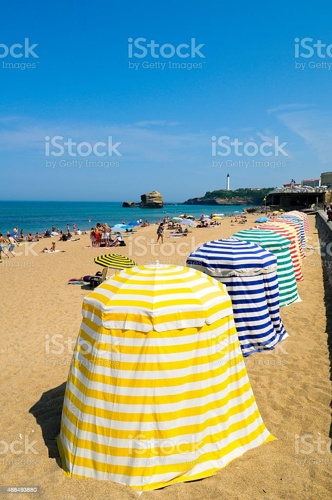 Umbrellas in Biarritz Beach stock photo