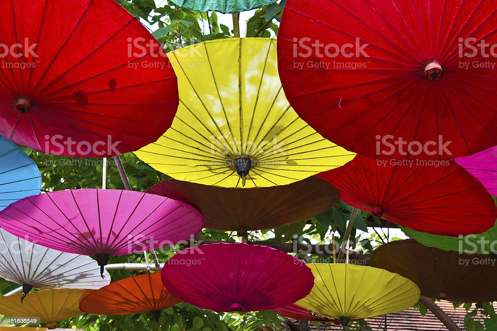 Umbrellas in Chiang Mai, Thailand. royalty-free stock photo