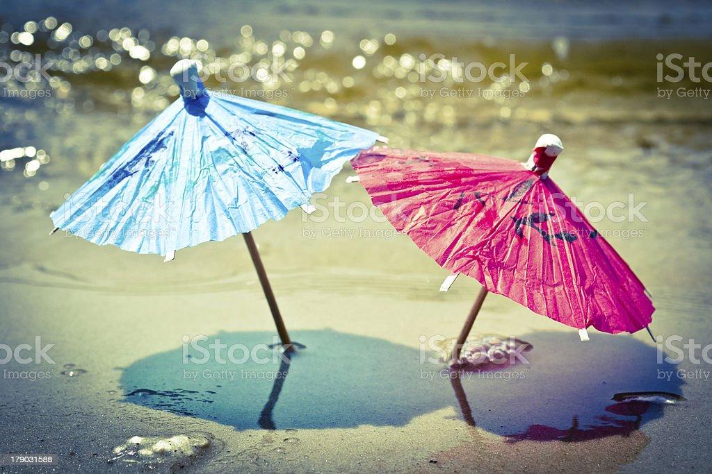 Umbrellas on the beach royalty-free stock photo