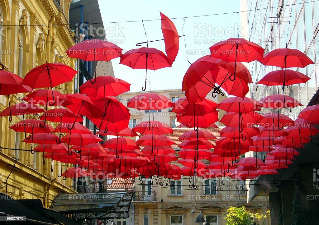 Umbrellas on the sky in Belgrade stock photo