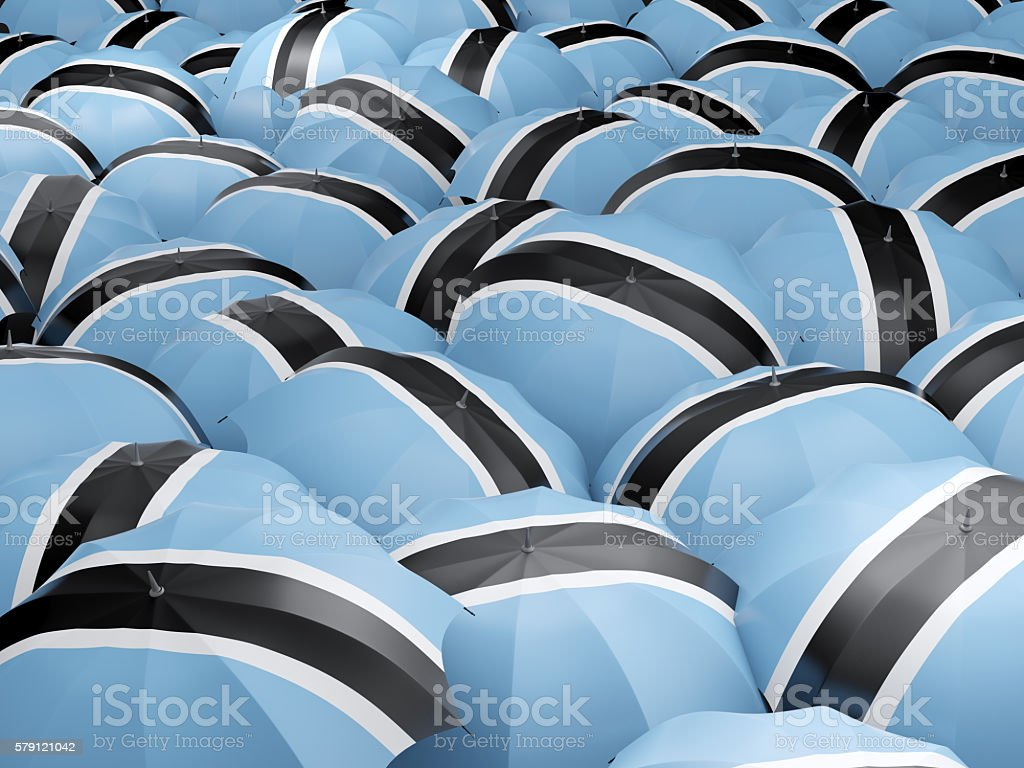 Umbrellas with flag of botswana stock photo