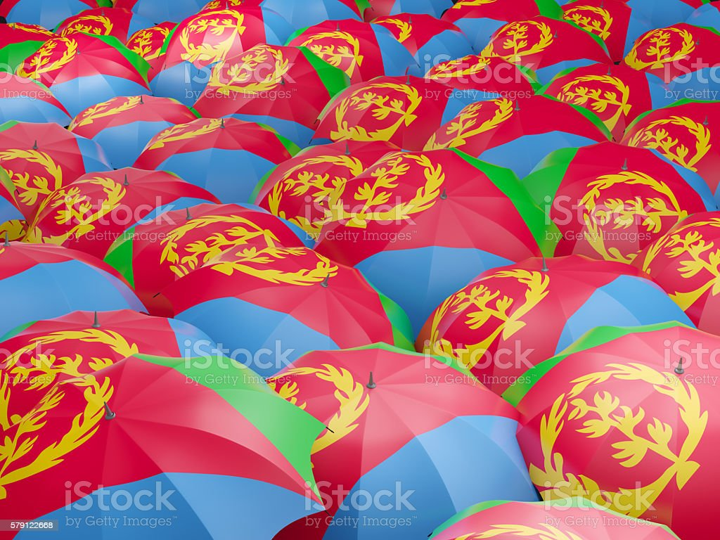 Umbrellas with flag of eritrea stock photo