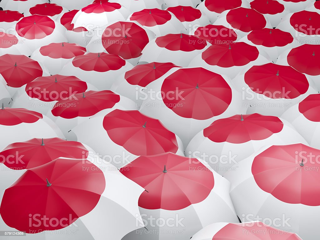 Umbrellas with flag of japan stock photo